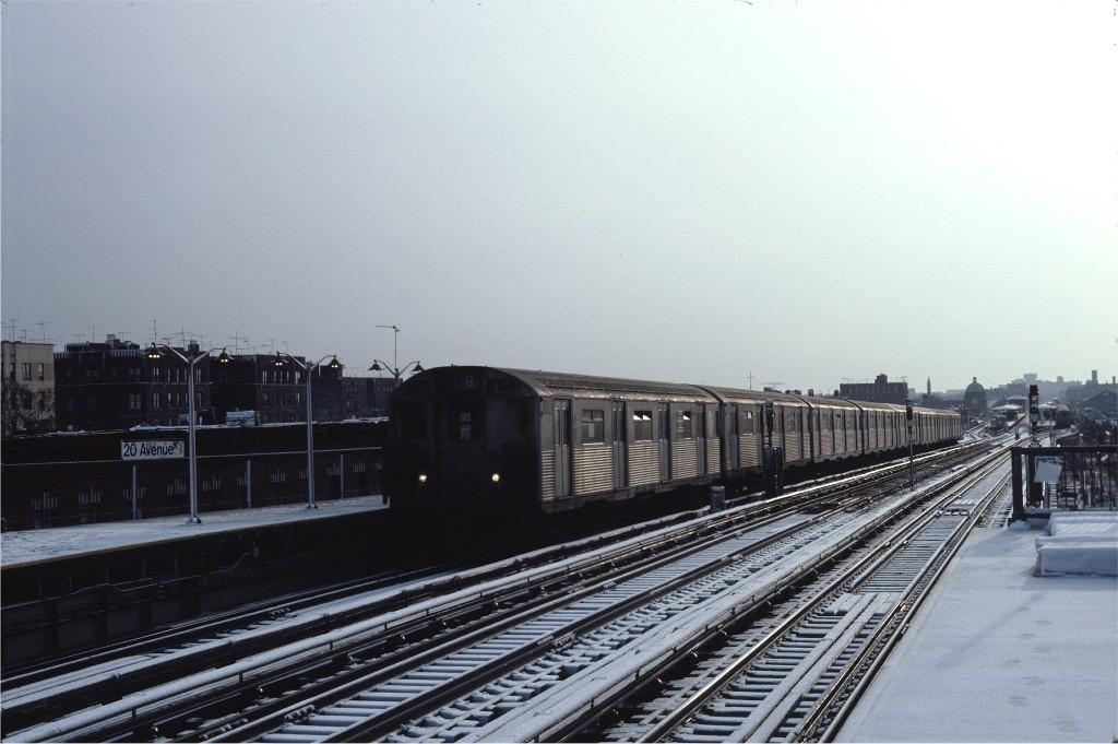 (155k, 1024x681)<br><b>Country:</b> United States<br><b>City:</b> New York<br><b>System:</b> New York City Transit<br><b>Line:</b> BMT West End Line<br><b>Location:</b> 20th Avenue <br><b>Route:</b> B<br><b>Car:</b> R-38 (St. Louis, 1966-1967)  4082 <br><b>Photo by:</b> Steve Zabel<br><b>Collection of:</b> Joe Testagrose<br><b>Date:</b> 12/16/1981<br><b>Viewed (this week/total):</b> 1 / 916