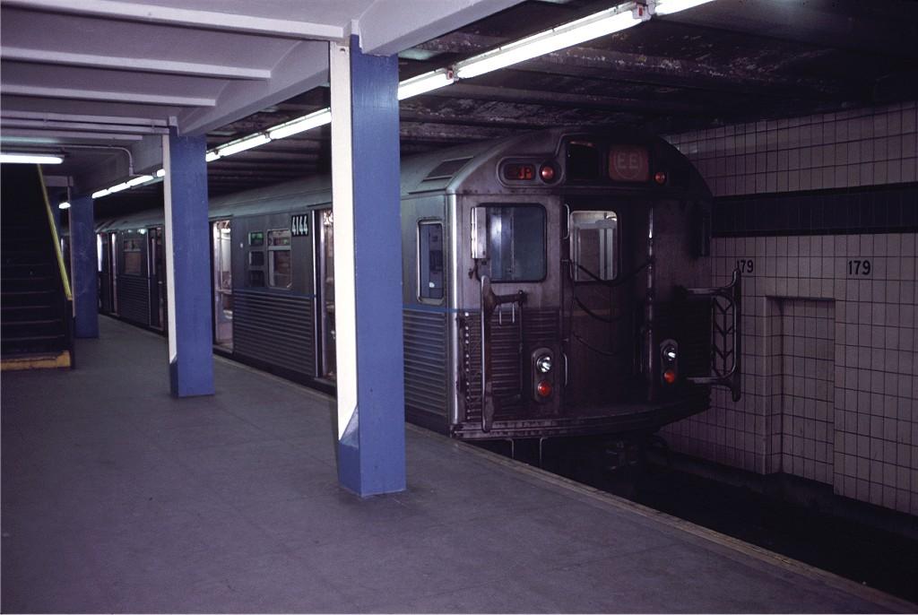 (148k, 1024x686)<br><b>Country:</b> United States<br><b>City:</b> New York<br><b>System:</b> New York City Transit<br><b>Line:</b> IND Queens Boulevard Line<br><b>Location:</b> 179th Street <br><b>Route:</b> EE<br><b>Car:</b> R-38 (St. Louis, 1966-1967)  4144 <br><b>Photo by:</b> Doug Grotjahn<br><b>Collection of:</b> Joe Testagrose<br><b>Date:</b> 12/4/1971<br><b>Viewed (this week/total):</b> 6 / 1433