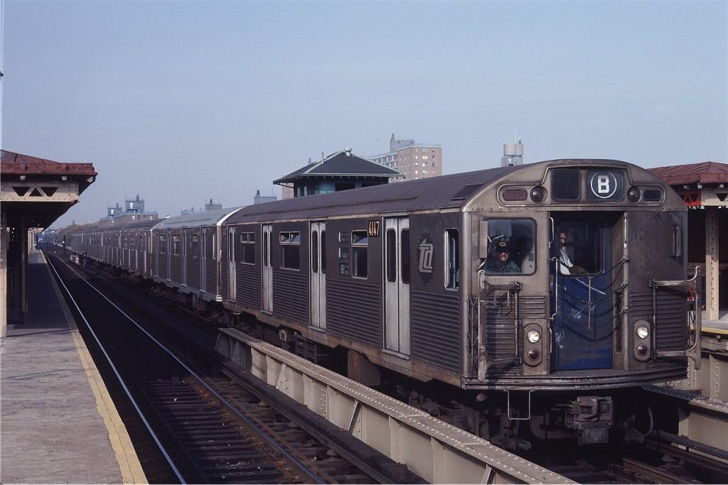 (174k, 1024x683)<br><b>Country:</b> United States<br><b>City:</b> New York<br><b>System:</b> New York City Transit<br><b>Line:</b> BMT West End Line<br><b>Location:</b> Bay 50th Street <br><b>Route:</b> B<br><b>Car:</b> R-38 (St. Louis, 1966-1967)  4147 <br><b>Photo by:</b> Steve Zabel<br><b>Collection of:</b> Joe Testagrose<br><b>Date:</b> 11/2/1981<br><b>Viewed (this week/total):</b> 0 / 1224