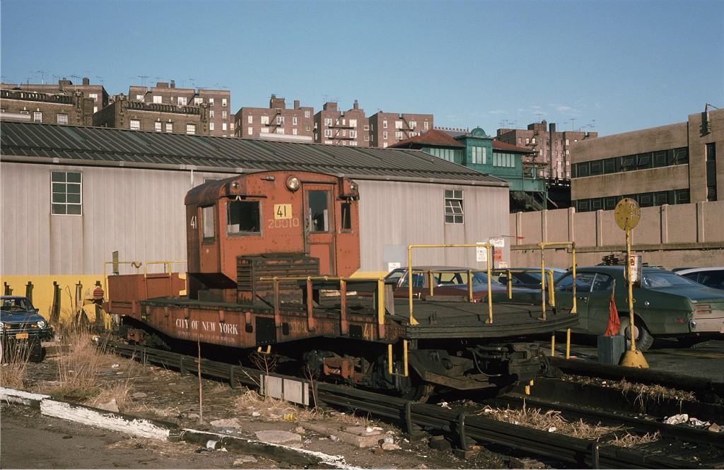 (212k, 1024x665)<br><b>Country:</b> United States<br><b>City:</b> New York<br><b>System:</b> New York City Transit<br><b>Location:</b> 207th Street Yard<br><b>Car:</b> R-3 Motor Flat Car (Drill Motor) (Magor Car, 1932)  41 <br><b>Photo by:</b> Steve Zabel<br><b>Collection of:</b> Joe Testagrose<br><b>Date:</b> 12/19/1974<br><b>Viewed (this week/total):</b> 0 / 846