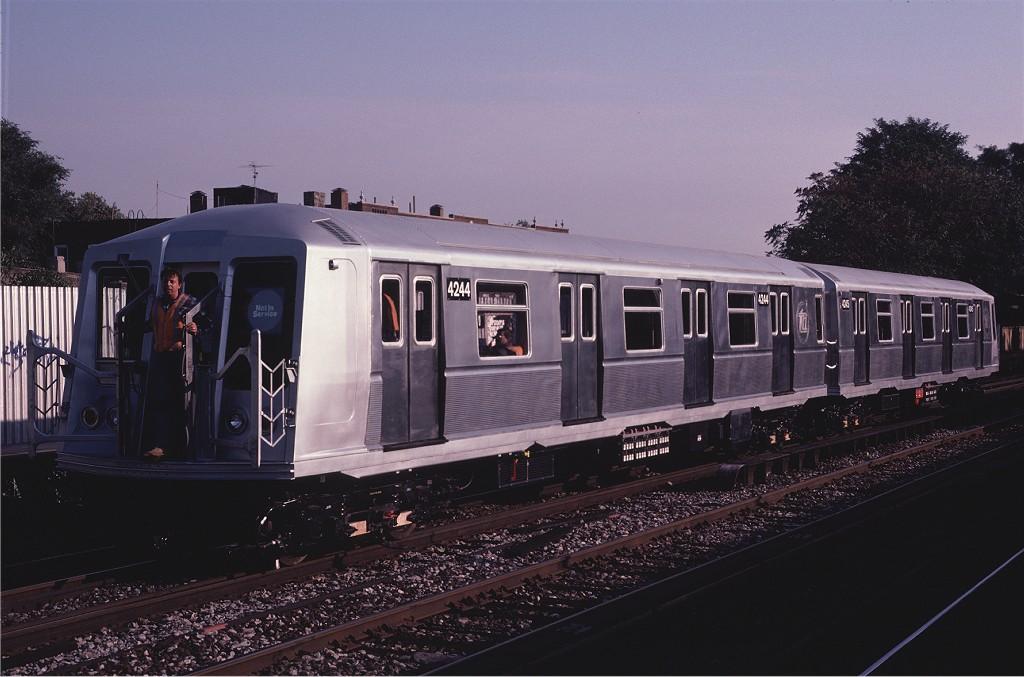 (166k, 1024x677)<br><b>Country:</b> United States<br><b>City:</b> New York<br><b>System:</b> New York City Transit<br><b>Line:</b> BMT Brighton Line<br><b>Location:</b> Avenue M <br><b>Car:</b> R-40 (St. Louis, 1968)  4244 <br><b>Photo by:</b> Eric Oszustowicz<br><b>Collection of:</b> Joe Testagrose<br><b>Date:</b> 10/10/1987<br><b>Viewed (this week/total):</b> 0 / 2140