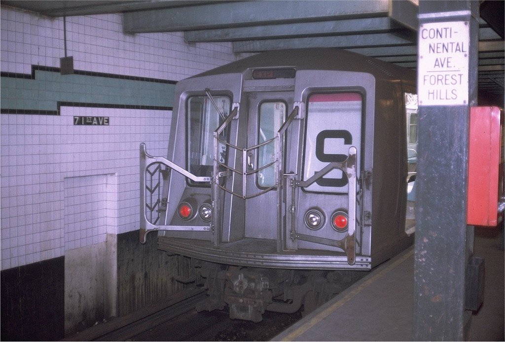 (181k, 1024x695)<br><b>Country:</b> United States<br><b>City:</b> New York<br><b>System:</b> New York City Transit<br><b>Line:</b> IND Queens Boulevard Line<br><b>Location:</b> 71st/Continental Aves./Forest Hills <br><b>Route:</b> GG<br><b>Car:</b> R-40 (St. Louis, 1968)  4416 <br><b>Photo by:</b> Doug Grotjahn<br><b>Collection of:</b> Joe Testagrose<br><b>Date:</b> 7/16/1969<br><b>Viewed (this week/total):</b> 5 / 1410