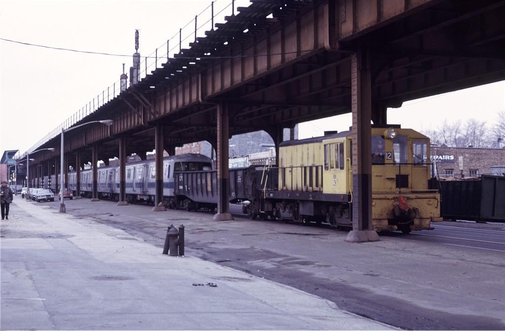 (156k, 1024x672)<br><b>Country:</b> United States<br><b>City:</b> New York<br><b>System:</b> New York City Transit<br><b>Line:</b> South Brooklyn Railway<br><b>Location:</b> McDonald/Bay Pkwy (SBK)<br><b>Car:</b> GE 70T Locomotive (SBK)  12 <br><b>Photo by:</b> Doug Grotjahn<br><b>Collection of:</b> Joe Testagrose<br><b>Date:</b> 3/5/1972<br><b>Viewed (this week/total):</b> 1 / 1502