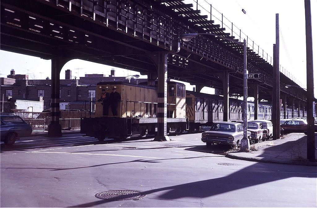 (274k, 1024x673)<br><b>Country:</b> United States<br><b>City:</b> New York<br><b>System:</b> New York City Transit<br><b>Line:</b> South Brooklyn Railway<br><b>Location:</b> McDonald/Ave T (SBK)<br><b>Car:</b> GE 70T Locomotive (SBK)  13 <br><b>Photo by:</b> Steve Zabel<br><b>Collection of:</b> Joe Testagrose<br><b>Date:</b> 1/26/1972<br><b>Viewed (this week/total):</b> 0 / 1715