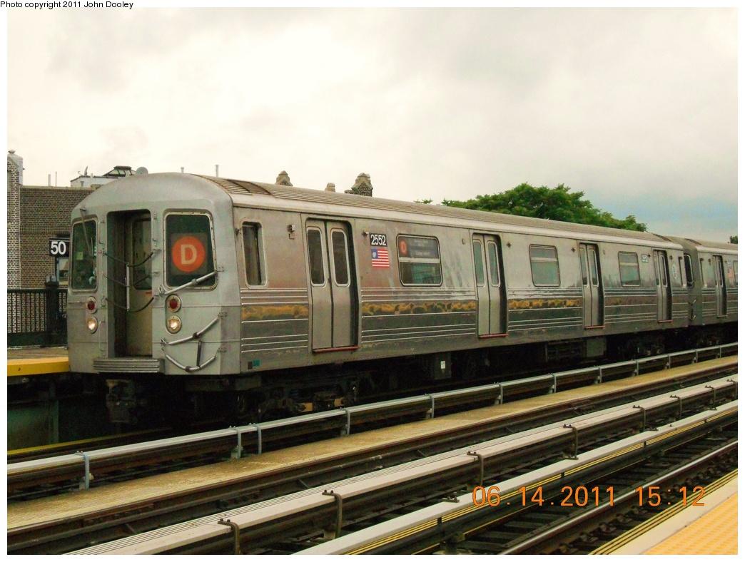 (355k, 1044x788)<br><b>Country:</b> United States<br><b>City:</b> New York<br><b>System:</b> New York City Transit<br><b>Line:</b> BMT West End Line<br><b>Location:</b> 50th Street <br><b>Route:</b> D<br><b>Car:</b> R-68 (Westinghouse-Amrail, 1986-1988)  2552 <br><b>Photo by:</b> John Dooley<br><b>Date:</b> 6/14/2011<br><b>Notes:</b> Note repainted end bonnet.<br><b>Viewed (this week/total):</b> 3 / 1422