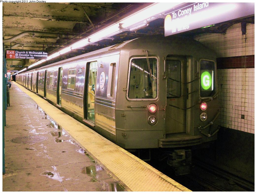 (464k, 1044x788)<br><b>Country:</b> United States<br><b>City:</b> New York<br><b>System:</b> New York City Transit<br><b>Line:</b> IND Crosstown Line<br><b>Location:</b> Church Avenue <br><b>Route:</b> G<br><b>Car:</b> R-68 (Westinghouse-Amrail, 1986-1988)  2784 <br><b>Photo by:</b> John Dooley<br><b>Date:</b> 5/7/2011<br><b>Viewed (this week/total):</b> 3 / 2286