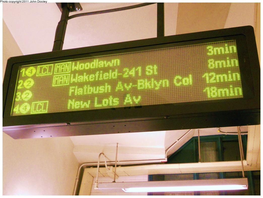 (385k, 1044x788)<br><b>Country:</b> United States<br><b>City:</b> New York<br><b>System:</b> New York City Transit<br><b>Line:</b> IRT Brooklyn Line<br><b>Location:</b> Atlantic Avenue <br><b>Photo by:</b> John Dooley<br><b>Date:</b> 3/9/2011<br><b>Notes:</b> New train arrival board.<br><b>Viewed (this week/total):</b> 0 / 1624