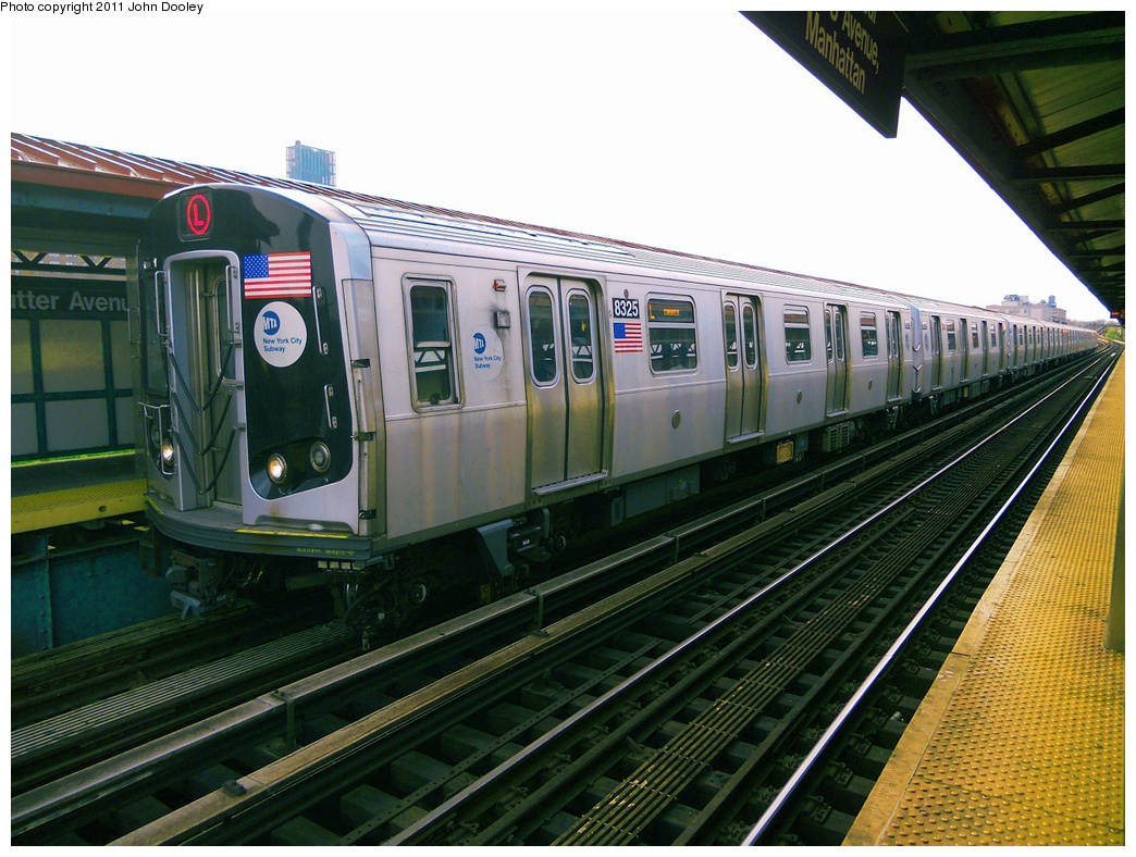 (445k, 1044x788)<br><b>Country:</b> United States<br><b>City:</b> New York<br><b>System:</b> New York City Transit<br><b>Line:</b> BMT Canarsie Line<br><b>Location:</b> Sutter Avenue <br><b>Route:</b> L<br><b>Car:</b> R-160A-1 (Alstom, 2005-2008, 4 car sets)  8325 <br><b>Photo by:</b> John Dooley<br><b>Date:</b> 5/3/2011<br><b>Viewed (this week/total):</b> 0 / 971