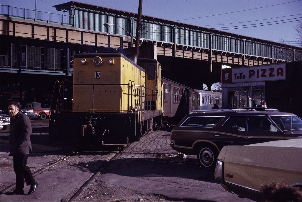 (232k, 1024x684)<br><b>Country:</b> United States<br><b>City:</b> New York<br><b>System:</b> New York City Transit<br><b>Location:</b> LIRR Parkville Jct<br><b>Car:</b> GE 70T Locomotive (SBK)  13 <br><b>Photo by:</b> Steve Zabel<br><b>Collection of:</b> Joe Testagrose<br><b>Date:</b> 1/26/1972<br><b>Viewed (this week/total):</b> 5 / 1253