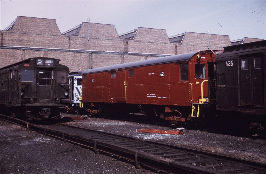 (190k, 1024x670)<br><b>Country:</b> United States<br><b>City:</b> New York<br><b>System:</b> New York City Transit<br><b>Location:</b> Coney Island Yard<br><b>Car:</b> Tool Welding Car (ACF, 1918)  42 (ex-5000)<br><b>Photo by:</b> Joe Testagrose<br><b>Date:</b> 3/11/1972<br><b>Viewed (this week/total):</b> 7 / 993