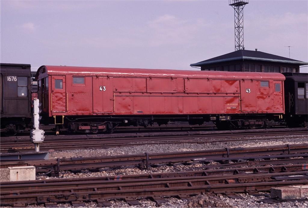 (190k, 1024x690)<br><b>Country:</b> United States<br><b>City:</b> New York<br><b>System:</b> New York City Transit<br><b>Location:</b> Coney Island Yard<br><b>Car:</b> Rubbish Collection Car (ACF, 1918)  43 <br><b>Photo by:</b> Joe Testagrose<br><b>Date:</b> 4/6/1969<br><b>Viewed (this week/total):</b> 1 / 942