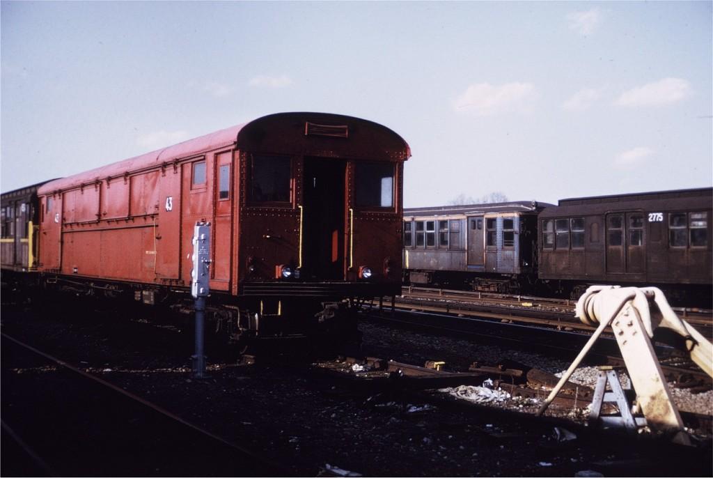 (132k, 1024x686)<br><b>Country:</b> United States<br><b>City:</b> New York<br><b>System:</b> New York City Transit<br><b>Location:</b> Coney Island Yard<br><b>Car:</b> Rubbish Collection Car (ACF, 1918)  43 <br><b>Photo by:</b> Joe Testagrose<br><b>Date:</b> 4/9/1972<br><b>Viewed (this week/total):</b> 1 / 730