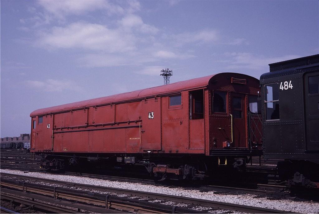 (192k, 1024x686)<br><b>Country:</b> United States<br><b>City:</b> New York<br><b>System:</b> New York City Transit<br><b>Location:</b> Coney Island Yard<br><b>Car:</b> Rubbish Collection Car (ACF, 1918)  43 <br><b>Photo by:</b> Steve Zabel<br><b>Collection of:</b> Joe Testagrose<br><b>Date:</b> 5/11/1971<br><b>Viewed (this week/total):</b> 2 / 785