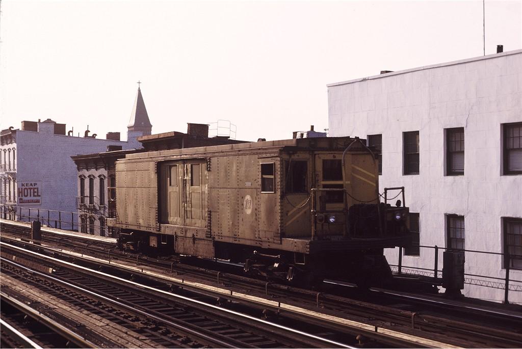 (163k, 1024x685)<br><b>Country:</b> United States<br><b>City:</b> New York<br><b>System:</b> New York City Transit<br><b>Line:</b> BMT Nassau Street/Jamaica Line<br><b>Location:</b> Hewes Street <br><b>Car:</b> BMT Signal Supply Car (Diff. Car Co., 1927)  44 <br><b>Photo by:</b> Joe Testagrose<br><b>Date:</b> 5/18/1971<br><b>Viewed (this week/total):</b> 6 / 1046
