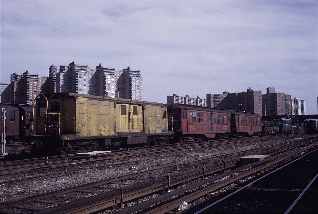 (212k, 1024x689)<br><b>Country:</b> United States<br><b>City:</b> New York<br><b>System:</b> New York City Transit<br><b>Location:</b> Coney Island Yard<br><b>Car:</b> BMT Signal Supply Car (Diff. Car Co., 1927)  44 <br><b>Photo by:</b> Steve Zabel<br><b>Collection of:</b> Joe Testagrose<br><b>Date:</b> 4/23/1971<br><b>Viewed (this week/total):</b> 2 / 871