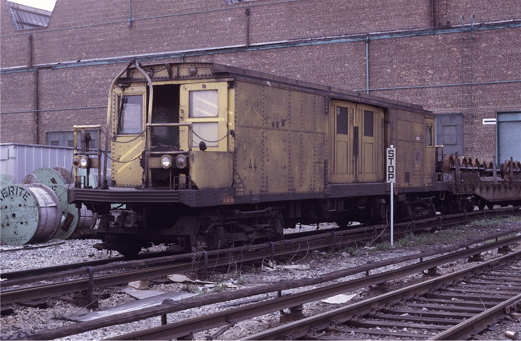 (267k, 1024x670)<br><b>Country:</b> United States<br><b>City:</b> New York<br><b>System:</b> New York City Transit<br><b>Location:</b> Coney Island Yard<br><b>Car:</b> BMT Signal Supply Car (Diff. Car Co., 1927)  44 <br><b>Photo by:</b> Steve Zabel<br><b>Collection of:</b> Joe Testagrose<br><b>Date:</b> 4/25/1971<br><b>Viewed (this week/total):</b> 4 / 772