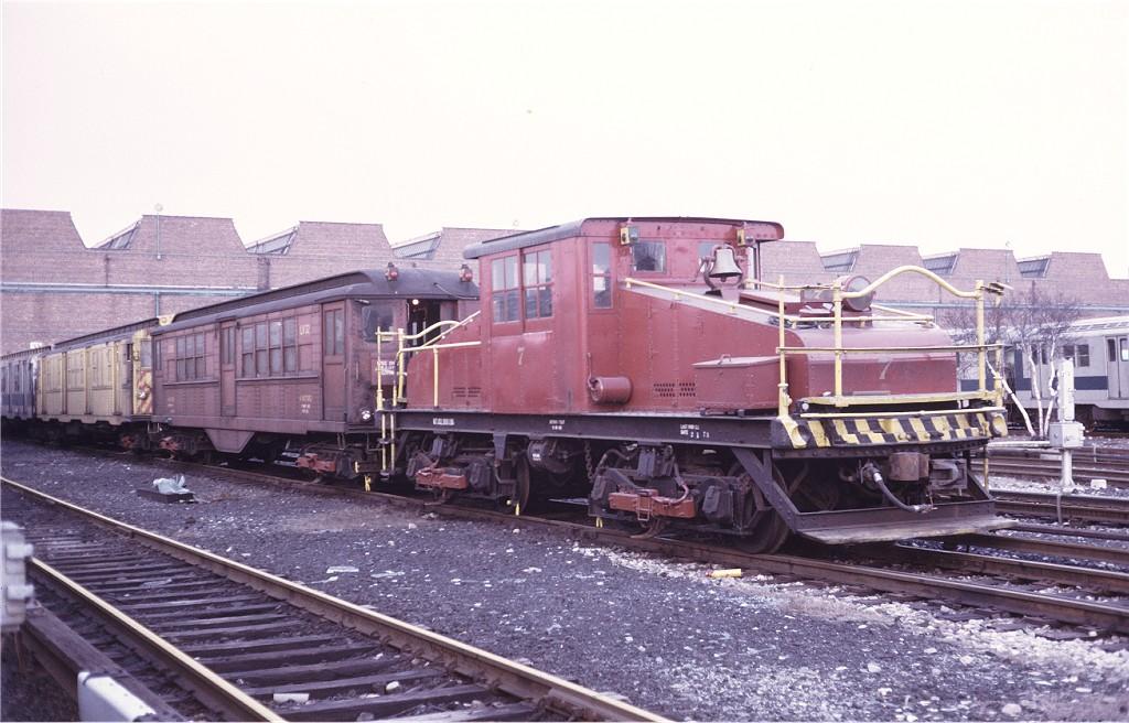 (186k, 1024x656)<br><b>Country:</b> United States<br><b>City:</b> New York<br><b>System:</b> New York City Transit<br><b>Location:</b> Coney Island Yard<br><b>Car:</b> SBK Steeplecab 7 <br><b>Photo by:</b> Steve Zabel<br><b>Collection of:</b> Joe Testagrose<br><b>Date:</b> 2/4/1973<br><b>Viewed (this week/total):</b> 1 / 591