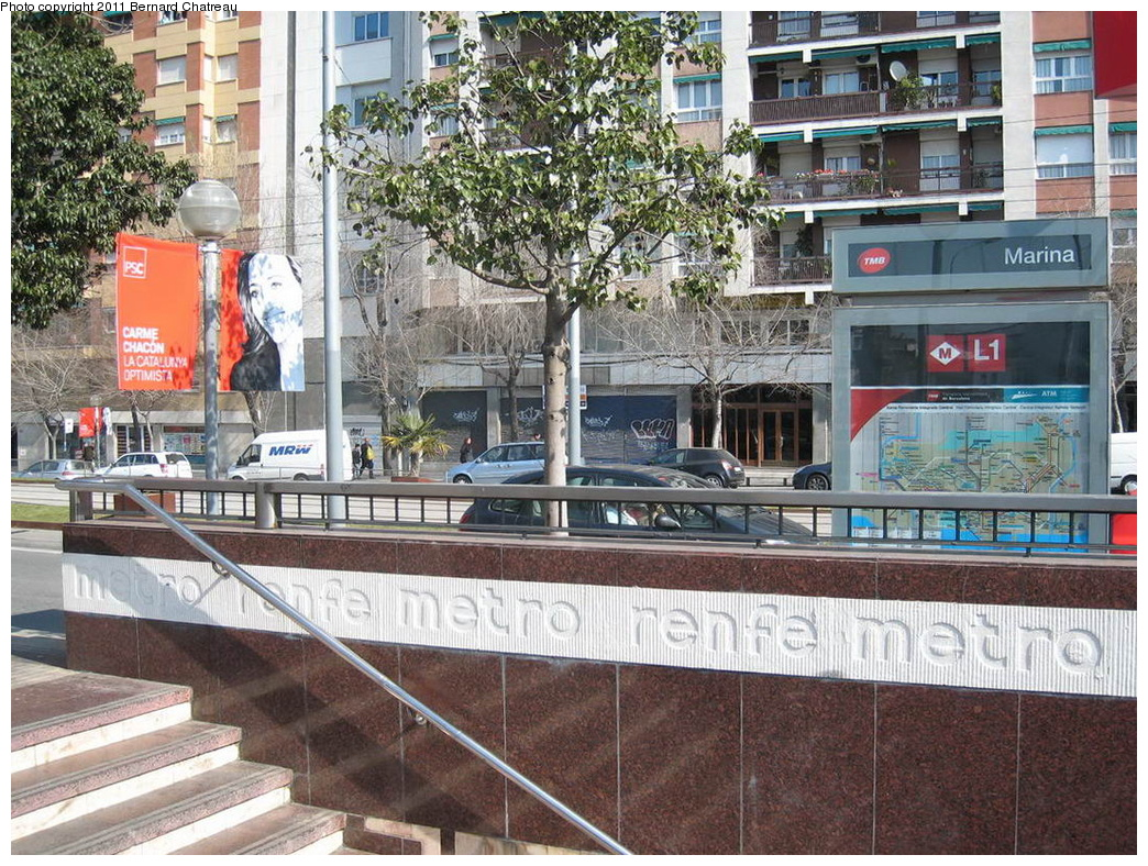 (450k, 1044x788)<br><b>Country:</b> Spain<br><b>City:</b> Barcelona<br><b>System:</b> Ferrocarril Metropolita de Barcelona (FMB)<br><b>Line:</b> FMB L1 (Hospital de Bellvitge - Fondo)<br><b>Location:</b> Marina (L1)<br><b>Photo by:</b> Bernard Chatreau<br><b>Date:</b> 2/23/2008<br><b>Viewed (this week/total):</b> 0 / 348