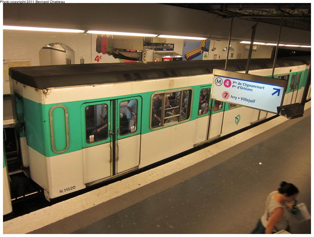 (265k, 1044x788)<br><b>Country:</b> France<br><b>City:</b> Paris<br><b>System:</b> RATP (Régie Autonome des Transports Parisiens)<br><b>Line:</b> Metro Ligne 5<br><b>Location:</b> Gare de l'Est <br><b>Car:</b> MF67 11520 <br><b>Photo by:</b> Bernard Chatreau<br><b>Date:</b> 6/30/2010<br><b>Viewed (this week/total):</b> 0 / 380