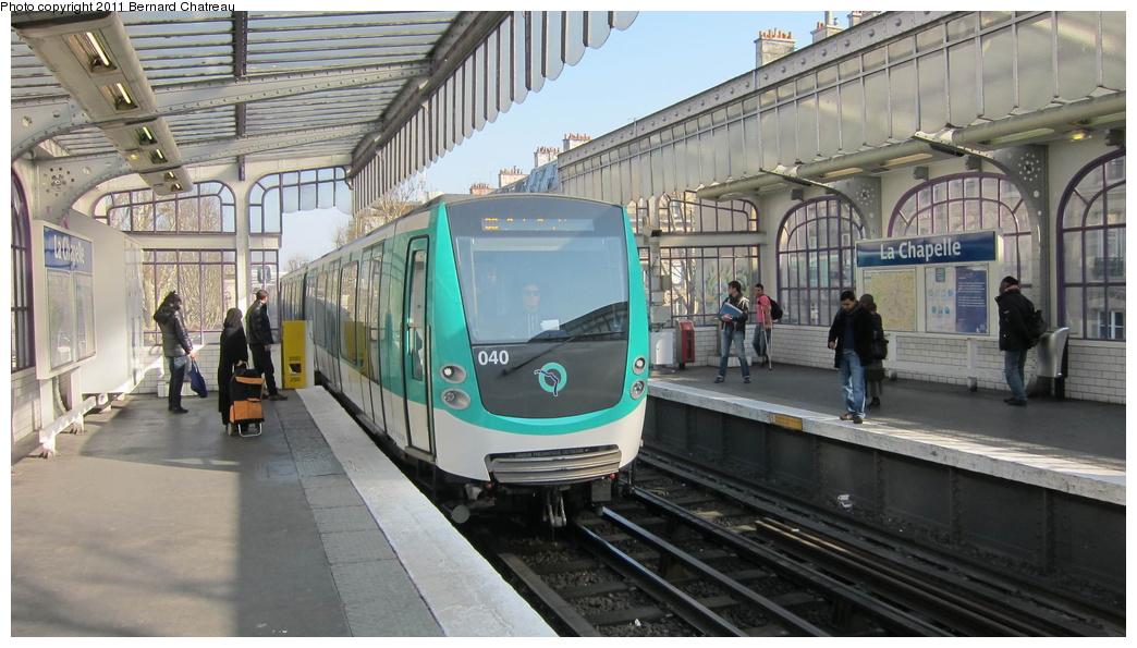 (275k, 1044x595)<br><b>Country:</b> France<br><b>City:</b> Paris<br><b>System:</b> RATP (Régie Autonome des Transports Parisiens)<br><b>Line:</b> Metro Ligne 2<br><b>Location:</b> La Chapelle <br><b>Car:</b> MF01  1040 <br><b>Photo by:</b> Bernard Chatreau<br><b>Date:</b> 3/8/2011<br><b>Viewed (this week/total):</b> 2 / 402