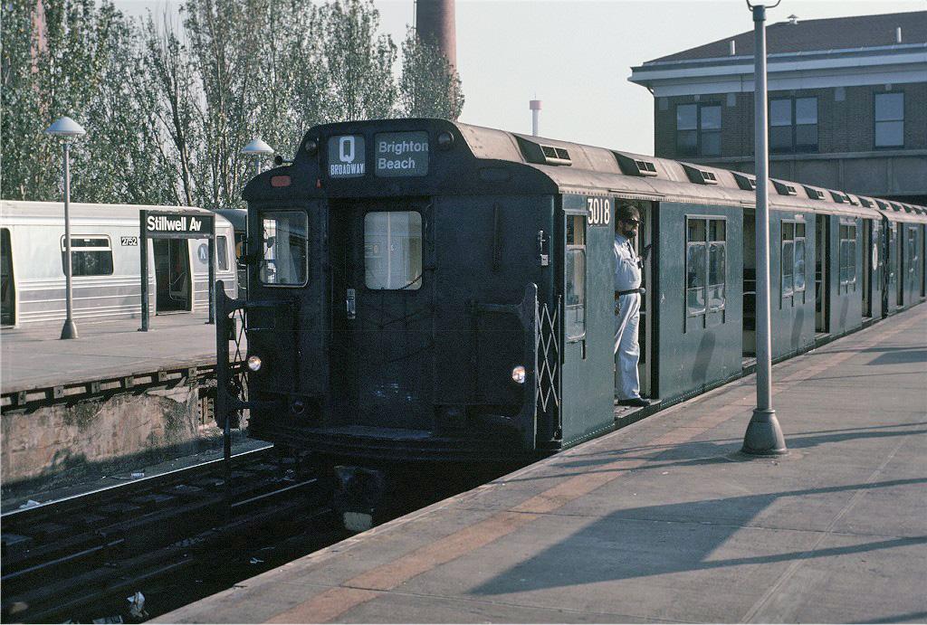 (312k, 1024x691)<br><b>Country:</b> United States<br><b>City:</b> New York<br><b>System:</b> New York City Transit<br><b>Location:</b> Coney Island/Stillwell Avenue<br><b>Route:</b> Fan Trip<br><b>Car:</b> R-10 (American Car & Foundry, 1948) 3018 <br><b>Photo by:</b> Doug Grotjahn<br><b>Collection of:</b> Joe Testagrose<br><b>Date:</b> 10/29/1989<br><b>Viewed (this week/total):</b> 0 / 2031