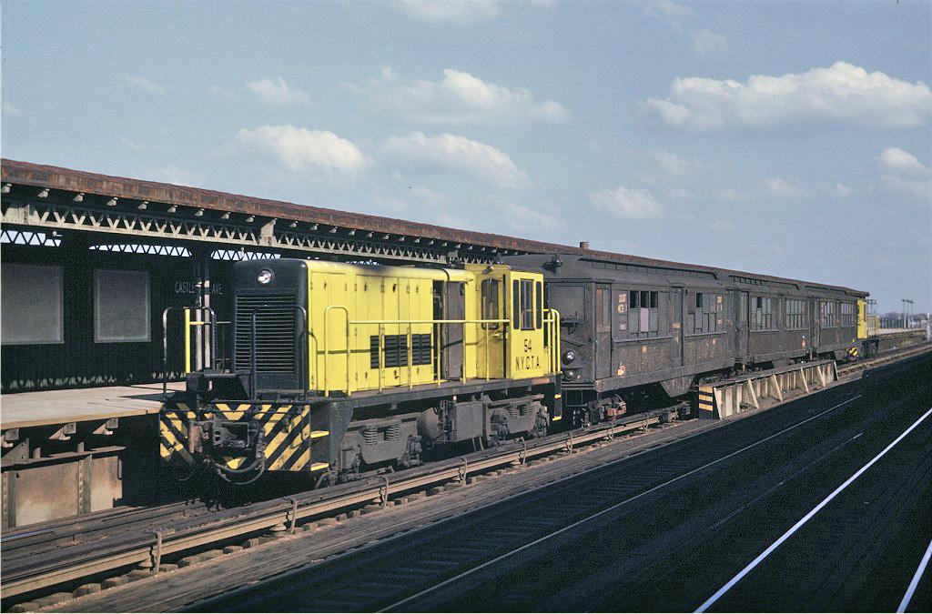 (259k, 1024x675)<br><b>Country:</b> United States<br><b>City:</b> New York<br><b>System:</b> New York City Transit<br><b>Line:</b> IRT Pelham Line<br><b>Location:</b> Castle Hill Avenue <br><b>Route:</b> Work Service<br><b>Car:</b> R-41 Locomotive  54 <br><b>Photo by:</b> Joe Testagrose<br><b>Date:</b> 11/8/1969<br><b>Viewed (this week/total):</b> 0 / 904