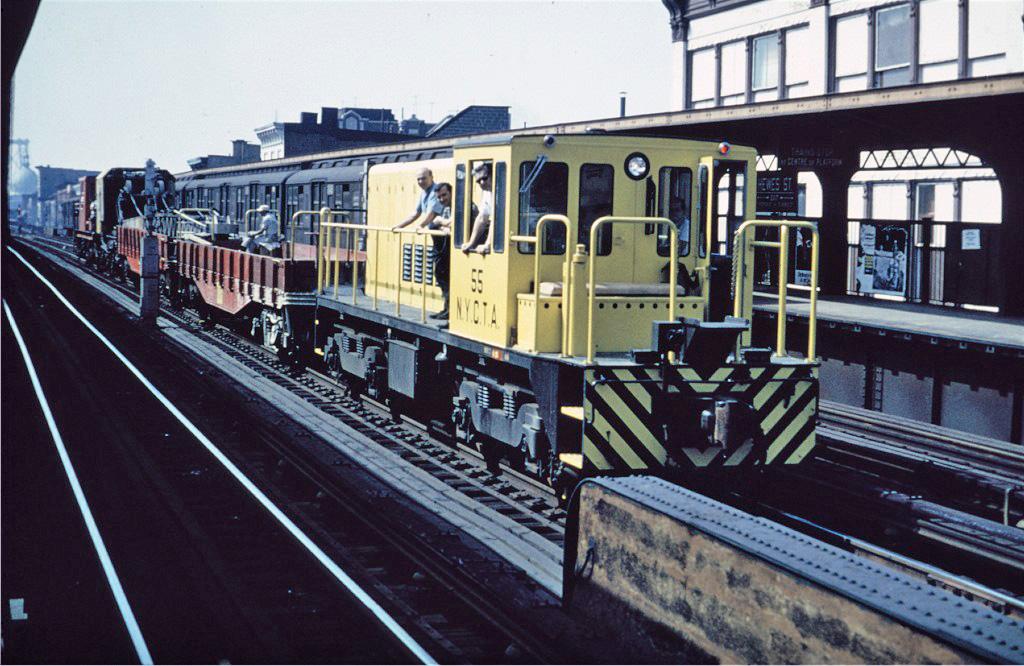 (284k, 1024x666)<br><b>Country:</b> United States<br><b>City:</b> New York<br><b>System:</b> New York City Transit<br><b>Line:</b> BMT Nassau Street/Jamaica Line<br><b>Location:</b> Hewes Street <br><b>Route:</b> Work Service<br><b>Car:</b> R-41 Locomotive  55 <br><b>Collection of:</b> Joe Testagrose<br><b>Viewed (this week/total):</b> 0 / 635