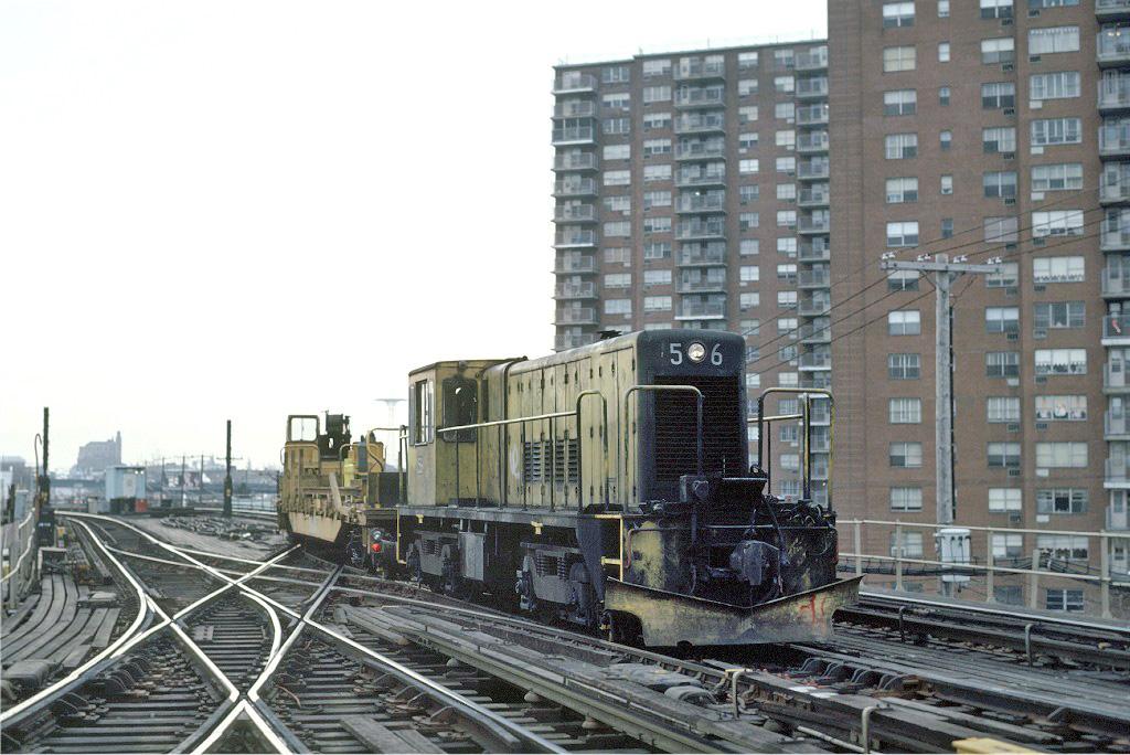 (256k, 1024x684)<br><b>Country:</b> United States<br><b>City:</b> New York<br><b>System:</b> New York City Transit<br><b>Line:</b> BMT West End Line<br><b>Location:</b> Bay 50th Street <br><b>Route:</b> Work Service<br><b>Car:</b> R-41 Locomotive  56 <br><b>Photo by:</b> Steve Zabel<br><b>Collection of:</b> Joe Testagrose<br><b>Date:</b> 12/17/1981<br><b>Viewed (this week/total):</b> 0 / 1105