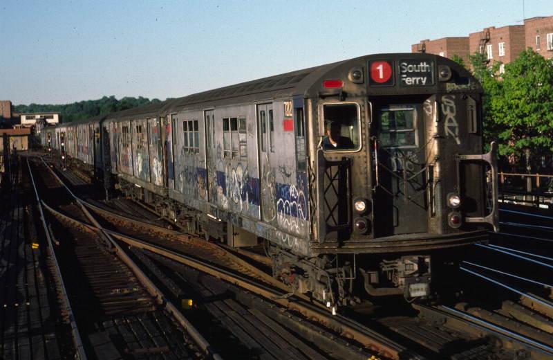 (65k, 800x520)<br><b>Country:</b> United States<br><b>City:</b> New York<br><b>System:</b> New York City Transit<br><b>Line:</b> IRT West Side Line<br><b>Location:</b> 238th Street <br><b>Route:</b> 1<br><b>Car:</b> R-21 (St. Louis, 1956-57) 7212 <br><b>Photo by:</b> Robert Callahan<br><b>Date:</b> 9/21/1984<br><b>Viewed (this week/total):</b> 2 / 1096