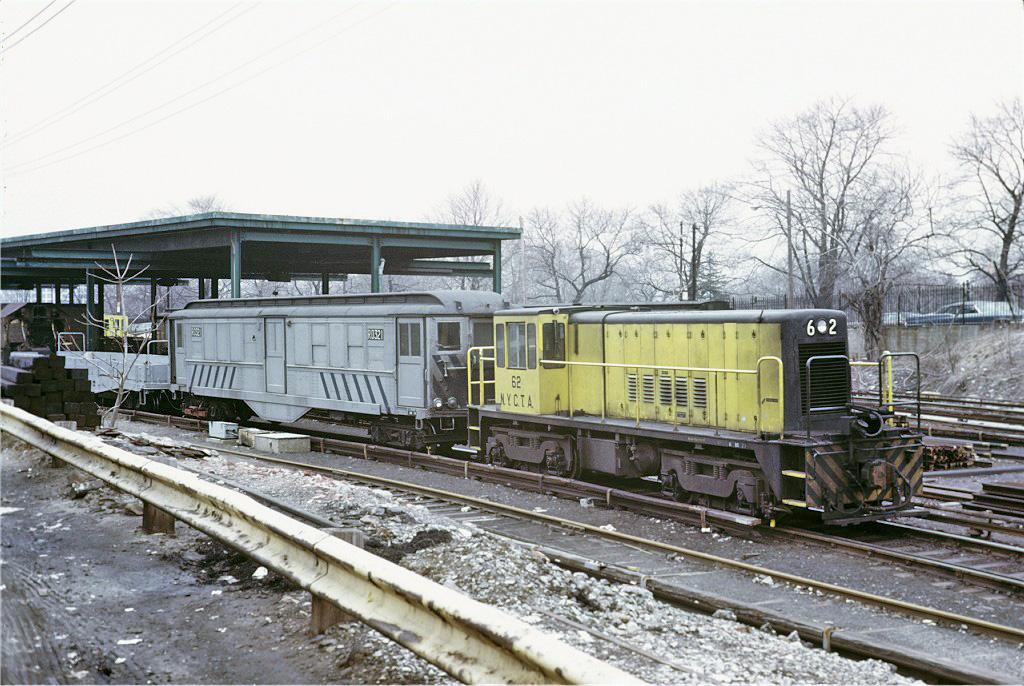 (314k, 1024x686)<br><b>Country:</b> United States<br><b>City:</b> New York<br><b>System:</b> New York City Transit<br><b>Location:</b> 36th Street Yard<br><b>Route:</b> Work Service<br><b>Car:</b> R-43 Locomotive  62 <br><b>Photo by:</b> Steve Zabel<br><b>Collection of:</b> Joe Testagrose<br><b>Date:</b> 3/21/1973<br><b>Notes:</b> With RD-321 (Low-V)<br><b>Viewed (this week/total):</b> 0 / 888