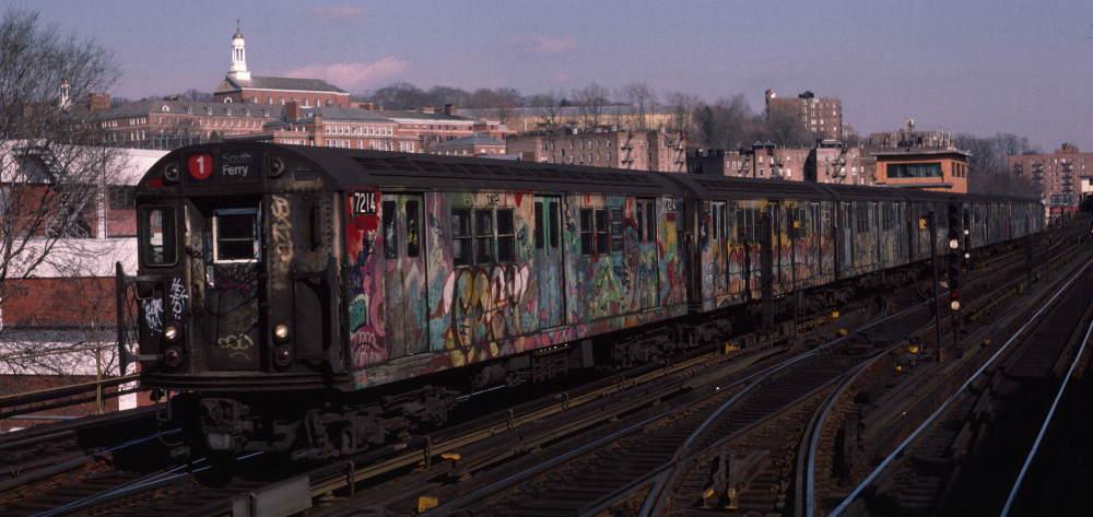 (68k, 1000x473)<br><b>Country:</b> United States<br><b>City:</b> New York<br><b>System:</b> New York City Transit<br><b>Line:</b> IRT West Side Line<br><b>Location:</b> 238th Street<br><b>Route:</b> 1<br><b>Car:</b> R-21 (St. Louis, 1956-57) 7214 <br><b>Photo by:</b> Robert Callahan<br><b>Date:</b> 2/16/1985<br><b>Viewed (this week/total):</b> 1 / 1415