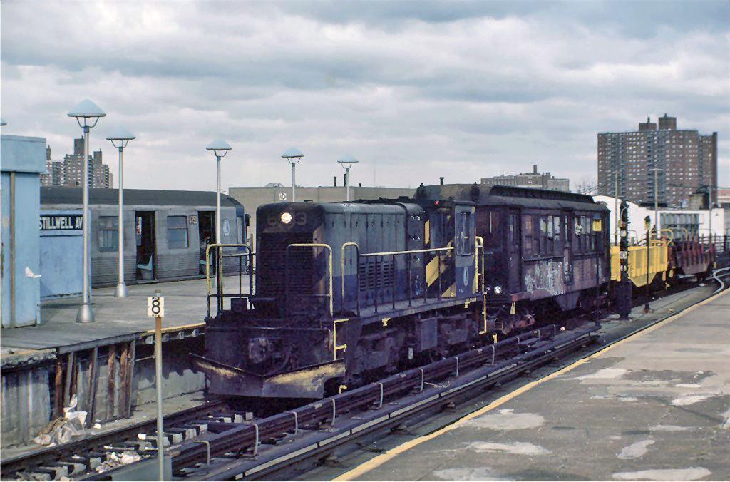 (236k, 1024x676)<br><b>Country:</b> United States<br><b>City:</b> New York<br><b>System:</b> New York City Transit<br><b>Location:</b> Coney Island/Stillwell Avenue<br><b>Route:</b> Work Service<br><b>Car:</b> R-47 Locomotive  63 <br><b>Photo by:</b> Steve Zabel<br><b>Collection of:</b> Joe Testagrose<br><b>Date:</b> 11/7/1981<br><b>Viewed (this week/total):</b> 1 / 1122