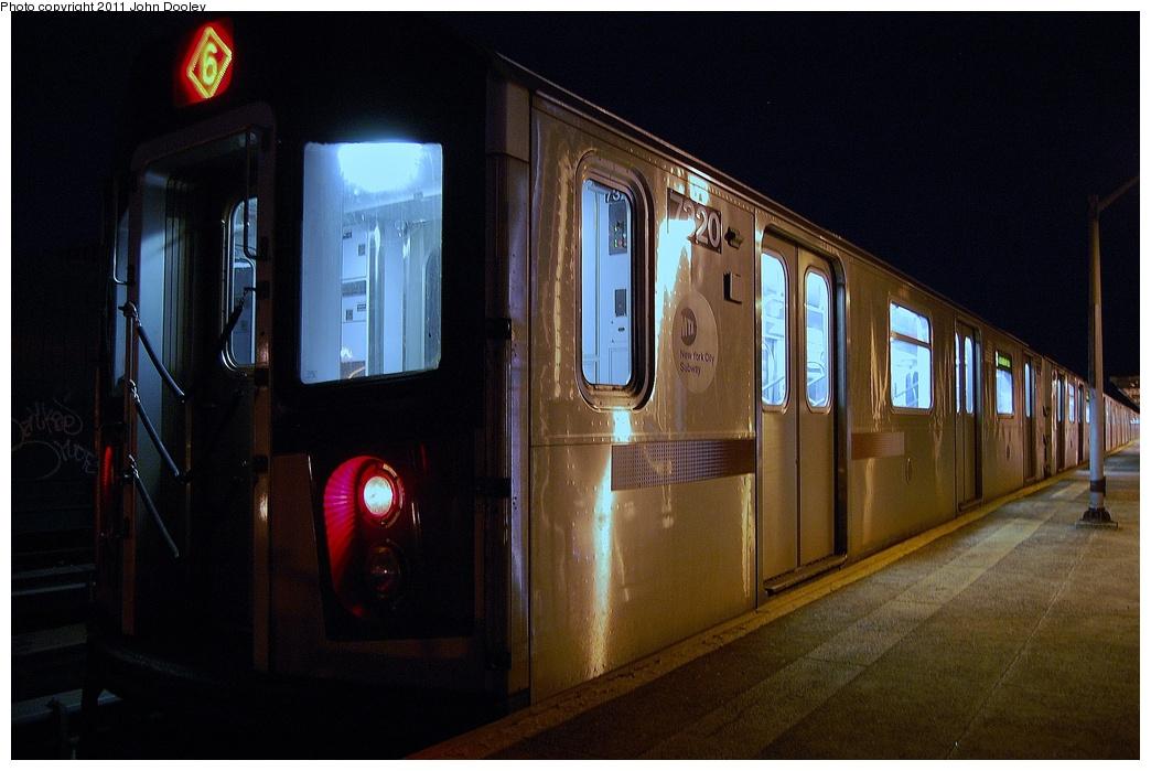 (289k, 1044x699)<br><b>Country:</b> United States<br><b>City:</b> New York<br><b>System:</b> New York City Transit<br><b>Line:</b> IRT Pelham Line<br><b>Location:</b> Westchester Square <br><b>Route:</b> 6<br><b>Car:</b> R-142A (Primary Order, Kawasaki, 1999-2002)  7320 <br><b>Photo by:</b> John Dooley<br><b>Date:</b> 3/2/2011<br><b>Viewed (this week/total):</b> 0 / 1212
