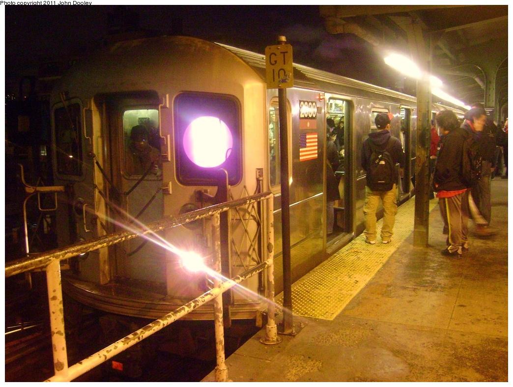 (341k, 1044x788)<br><b>Country:</b> United States<br><b>City:</b> New York<br><b>System:</b> New York City Transit<br><b>Line:</b> IRT Flushing Line<br><b>Location:</b> Queensborough Plaza <br><b>Route:</b> 7<br><b>Car:</b> R-62A (Bombardier, 1984-1987)  2030 <br><b>Photo by:</b> John Dooley<br><b>Date:</b> 4/12/2011<br><b>Viewed (this week/total):</b> 2 / 1107