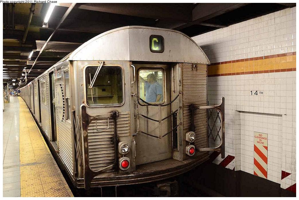 (367k, 1044x699)<br><b>Country:</b> United States<br><b>City:</b> New York<br><b>System:</b> New York City Transit<br><b>Line:</b> IND 8th Avenue Line<br><b>Location:</b> 14th Street <br><b>Route:</b> C<br><b>Car:</b> R-32 (Budd, 1964)   <br><b>Photo by:</b> Richard Chase<br><b>Date:</b> 7/14/2011<br><b>Viewed (this week/total):</b> 3 / 1085