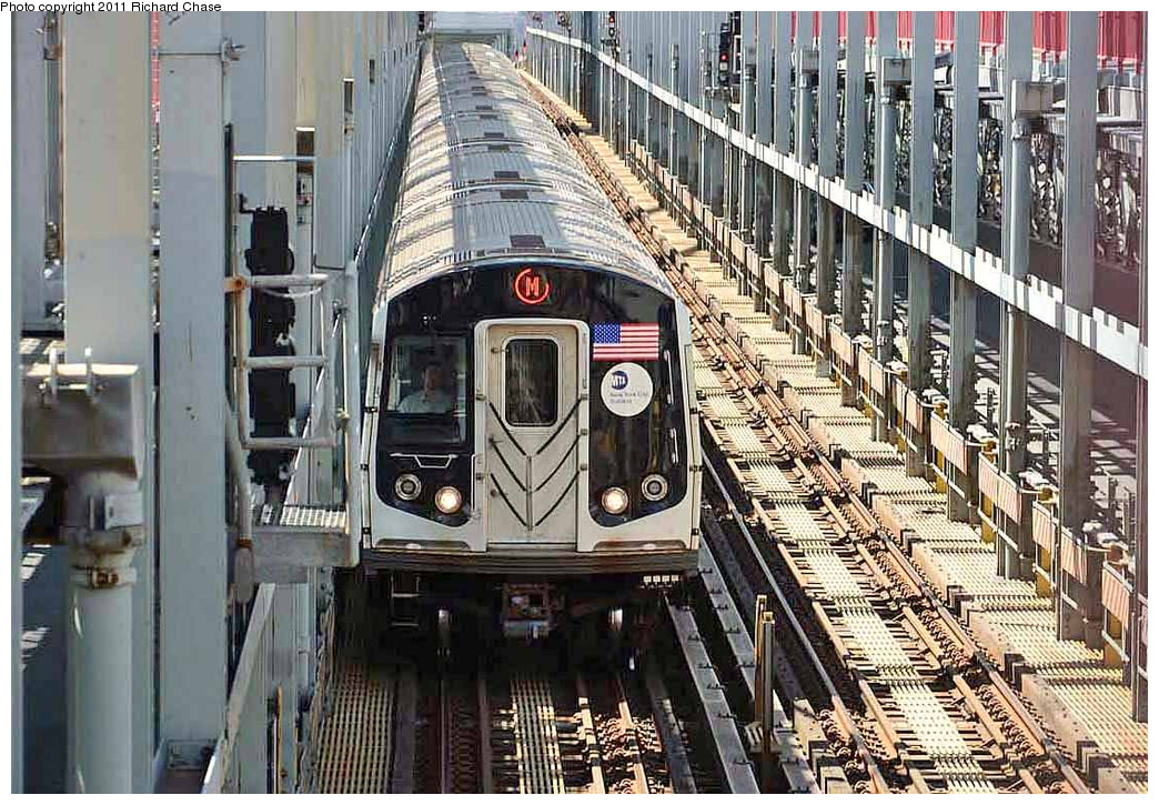 (456k, 1044x725)<br><b>Country:</b> United States<br><b>City:</b> New York<br><b>System:</b> New York City Transit<br><b>Line:</b> BMT Nassau Street/Jamaica Line<br><b>Location:</b> Williamsburg Bridge<br><b>Route:</b> M<br><b>Car:</b> R-160A/R-160B Series (Number Unknown)  <br><b>Photo by:</b> Richard Chase<br><b>Date:</b> 7/14/2011<br><b>Viewed (this week/total):</b> 0 / 887