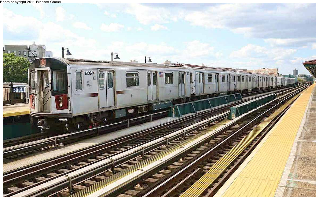 (380k, 1044x655)<br><b>Country:</b> United States<br><b>City:</b> New York<br><b>System:</b> New York City Transit<br><b>Line:</b> IRT Pelham Line<br><b>Location:</b> Whitlock Avenue <br><b>Route:</b> 6<br><b>Car:</b> R-142A (Primary Order, Kawasaki, 1999-2002)  7305 <br><b>Photo by:</b> Richard Chase<br><b>Date:</b> 7/14/2011<br><b>Viewed (this week/total):</b> 3 / 1193