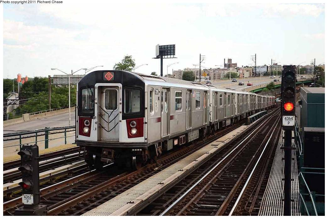 (346k, 1044x699)<br><b>Country:</b> United States<br><b>City:</b> New York<br><b>System:</b> New York City Transit<br><b>Line:</b> IRT Pelham Line<br><b>Location:</b> Whitlock Avenue <br><b>Route:</b> 6<br><b>Car:</b> R-142A (Primary Order, Kawasaki, 1999-2002)  7285 <br><b>Photo by:</b> Richard Chase<br><b>Date:</b> 7/14/2011<br><b>Viewed (this week/total):</b> 0 / 1158