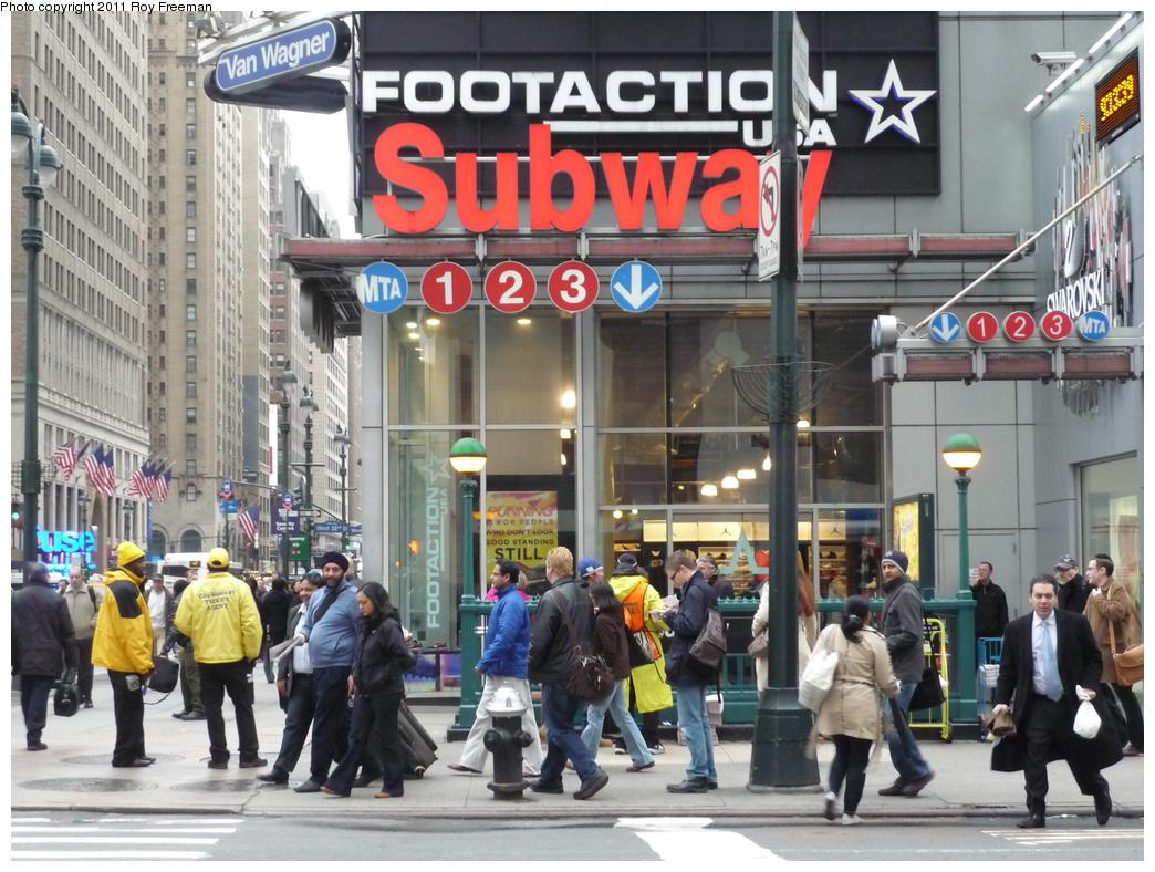 (367k, 1044x788)<br><b>Country:</b> United States<br><b>City:</b> New York<br><b>System:</b> New York City Transit<br><b>Line:</b> IRT West Side Line<br><b>Location:</b> 34th Street/Penn Station <br><b>Photo by:</b> Roy Freeman<br><b>Date:</b> 4/4/2011<br><b>Notes:</b> 34 St IRT entrance @ 7th Ave<br><b>Viewed (this week/total):</b> 1 / 1383