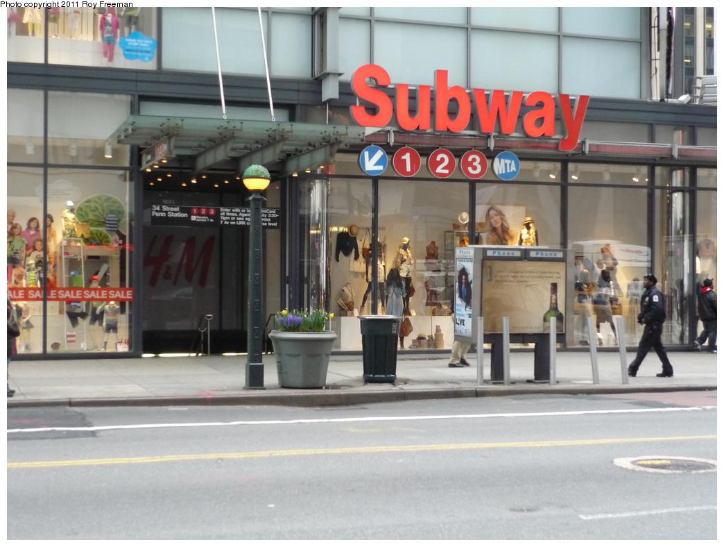(290k, 1044x788)<br><b>Country:</b> United States<br><b>City:</b> New York<br><b>System:</b> New York City Transit<br><b>Line:</b> IRT West Side Line<br><b>Location:</b> 34th Street/Penn Station <br><b>Photo by:</b> Roy Freeman<br><b>Date:</b> 4/4/2011<br><b>Notes:</b> 34 St IRT entrance @ 7th Ave<br><b>Viewed (this week/total):</b> 1 / 1191