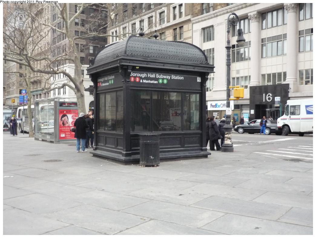 (318k, 1044x788)<br><b>Country:</b> United States<br><b>City:</b> New York<br><b>System:</b> New York City Transit<br><b>Line:</b> IRT Brooklyn Line<br><b>Location:</b> Borough Hall (West Side Branch) <br><b>Photo by:</b> Roy Freeman<br><b>Date:</b> 4/4/2011<br><b>Notes:</b> Borough Hall IRT elevator entrance<br><b>Viewed (this week/total):</b> 2 / 1441