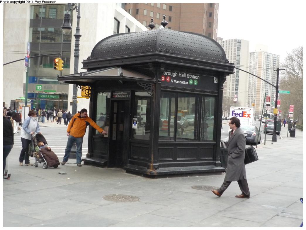 (296k, 1044x788)<br><b>Country:</b> United States<br><b>City:</b> New York<br><b>System:</b> New York City Transit<br><b>Line:</b> IRT Brooklyn Line<br><b>Location:</b> Borough Hall (West Side Branch) <br><b>Photo by:</b> Roy Freeman<br><b>Date:</b> 4/4/2011<br><b>Notes:</b> Borough Hall IRT elevator entrance<br><b>Viewed (this week/total):</b> 2 / 1323