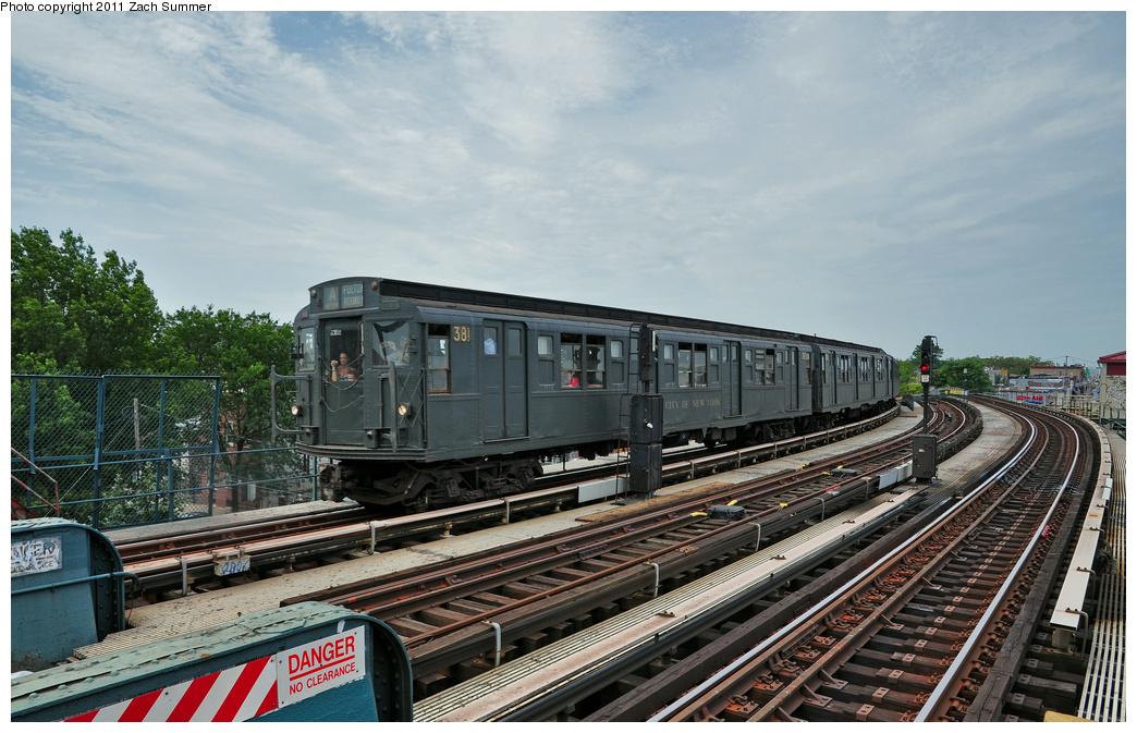 (372k, 1044x673)<br><b>Country:</b> United States<br><b>City:</b> New York<br><b>System:</b> New York City Transit<br><b>Line:</b> IND Fulton Street Line<br><b>Location:</b> 80th Street-Hudson Street<br><b>Route:</b> Transit Museum Nostalgia Train<br><b>Car:</b> R-1 (American Car & Foundry, 1930-1931) 381 <br><b>Photo by:</b> Zach Summer<br><b>Date:</b> 7/23/2011<br><b>Viewed (this week/total):</b> 0 / 1156