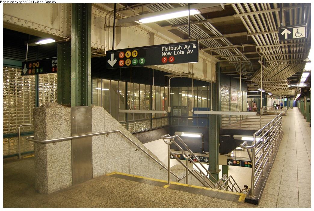 (401k, 1044x701)<br><b>Country:</b> United States<br><b>City:</b> New York<br><b>System:</b> New York City Transit<br><b>Line:</b> IRT Brooklyn Line<br><b>Location:</b> Atlantic Avenue <br><b>Photo by:</b> John Dooley<br><b>Date:</b> 6/27/2011<br><b>Notes:</b> Stairs to transfers.<br><b>Viewed (this week/total):</b> 0 / 1321
