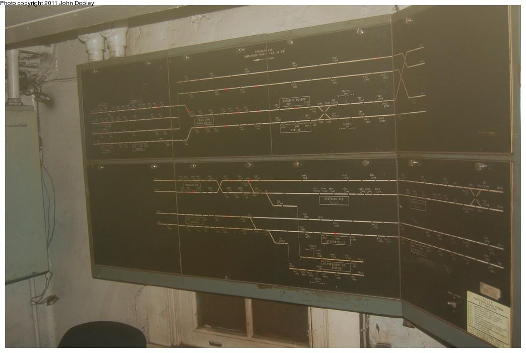(218k, 1044x701)<br><b>Country:</b> United States<br><b>City:</b> New York<br><b>System:</b> New York City Transit<br><b>Line:</b> IRT Brooklyn Line<br><b>Location:</b> Franklin Avenue <br><b>Photo by:</b> John Dooley<br><b>Date:</b> 6/28/2011<br><b>Notes:</b> View of board inside dispatcher office.<br><b>Viewed (this week/total):</b> 0 / 2468