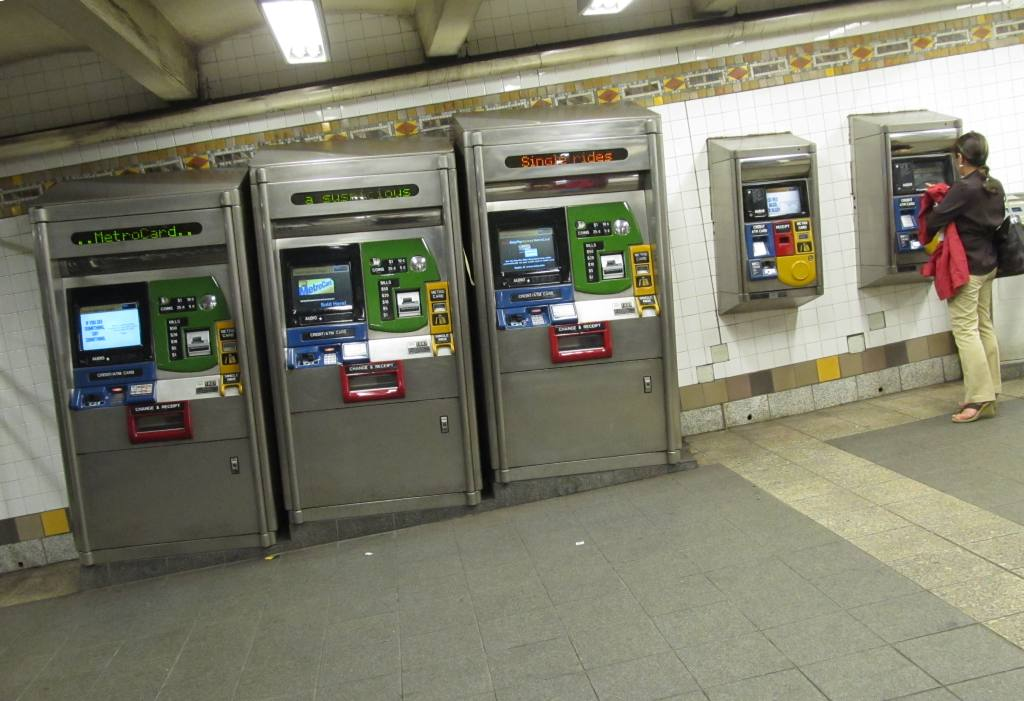 (106k, 1024x701)<br><b>Country:</b> United States<br><b>City:</b> New York<br><b>System:</b> New York City Transit<br><b>Line:</b> IRT Flushing Line<br><b>Location:</b> 5th Avenue <br><b>Photo by:</b> Robbie Rosenfeld<br><b>Date:</b> 6/14/2011<br><b>Notes:</b> Metrocard machines in sloped corridor.<br><b>Viewed (this week/total):</b> 1 / 1352