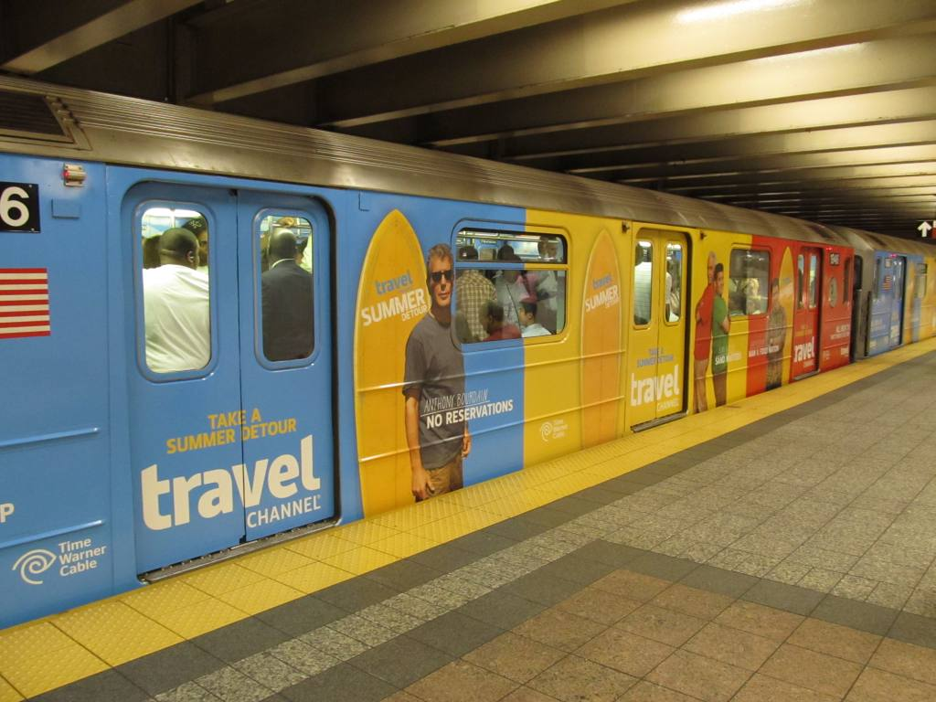 (109k, 1024x768)<br><b>Country:</b> United States<br><b>City:</b> New York<br><b>System:</b> New York City Transit<br><b>Line:</b> IRT Times Square-Grand Central Shuttle<br><b>Location:</b> Grand Central <br><b>Route:</b> S<br><b>Car:</b> R-62A (Bombardier, 1984-1987)  1946 <br><b>Photo by:</b> Robbie Rosenfeld<br><b>Date:</b> 7/14/2011<br><b>Notes:</b> Travel Channel wrap.<br><b>Viewed (this week/total):</b> 3 / 679