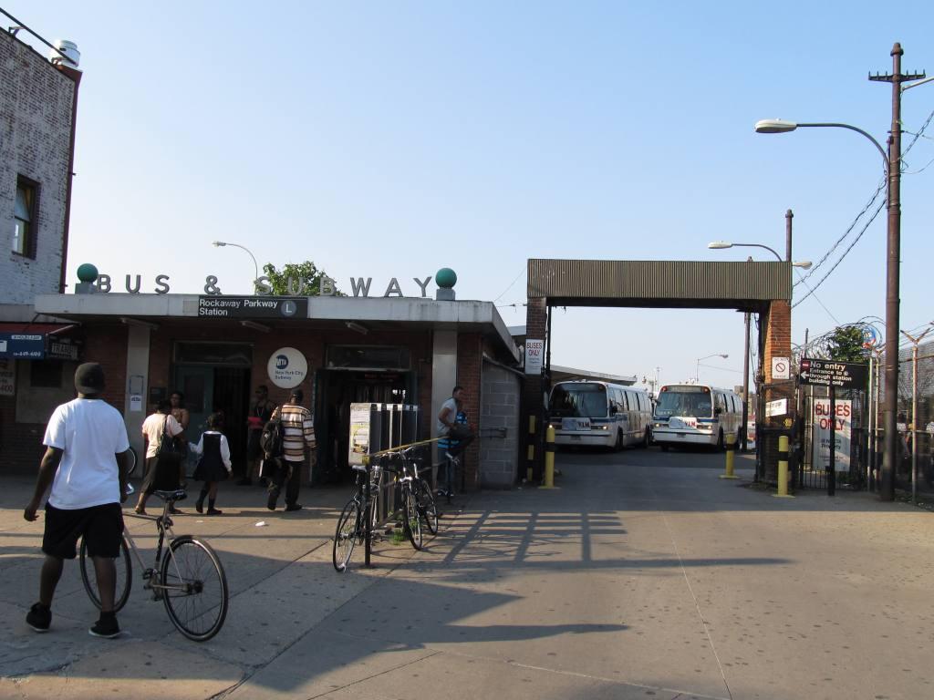(94k, 1024x768)<br><b>Country:</b> United States<br><b>City:</b> New York<br><b>System:</b> New York City Transit<br><b>Line:</b> BMT Canarsie Line<br><b>Location:</b> Rockaway Parkway <br><b>Photo by:</b> Robbie Rosenfeld<br><b>Date:</b> 6/15/2011<br><b>Notes:</b> Station entrance with bus loop.<br><b>Viewed (this week/total):</b> 0 / 1905