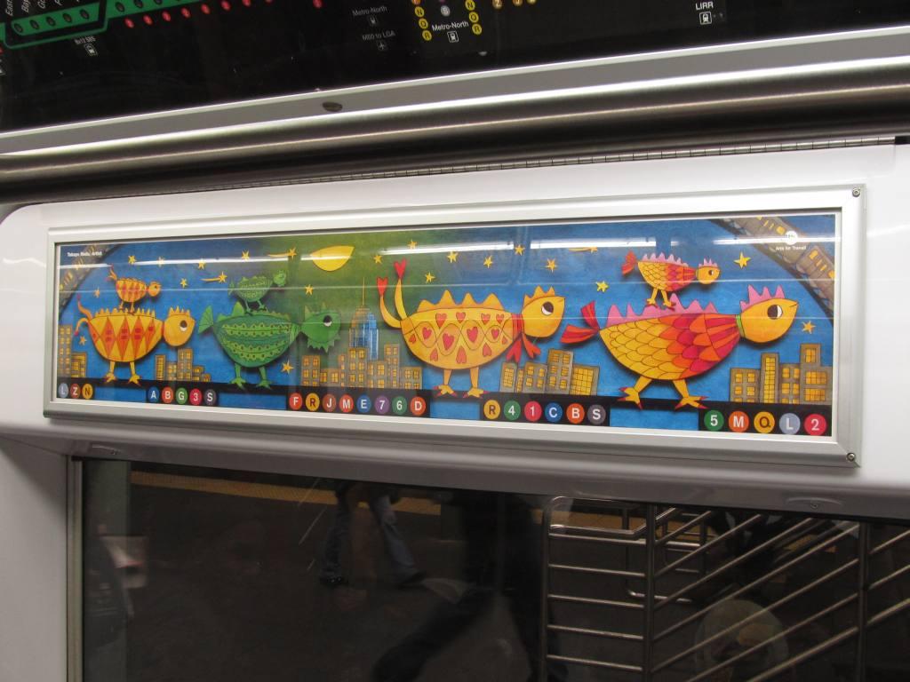 (104k, 1024x768)<br><b>Country:</b> United States<br><b>City:</b> New York<br><b>System:</b> New York City Transit<br><b>Photo by:</b> Robbie Rosenfeld<br><b>Date:</b> 3/10/2011<br><b>Artwork:</b> <i>Traveling Dinosaur Chicks</i>, Takayo Noda (2011).<br><b>Viewed (this week/total):</b> 1 / 937