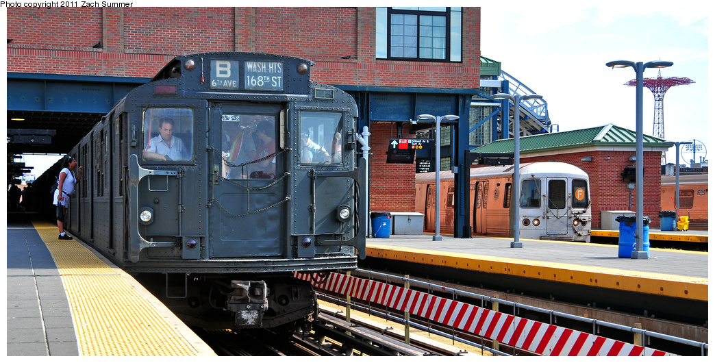 (373k, 1044x530)<br><b>Country:</b> United States<br><b>City:</b> New York<br><b>System:</b> New York City Transit<br><b>Location:</b> Coney Island/Stillwell Avenue<br><b>Route:</b> Transit Museum Nostalgia Train<br><b>Car:</b> R-1 (American Car & Foundry, 1930-1931) 381 <br><b>Photo by:</b> Zach Summer<br><b>Date:</b> 7/23/2011<br><b>Notes:</b> With R46 5610 on the F<br><b>Viewed (this week/total):</b> 1 / 1227